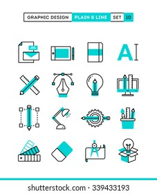 Graphic design, creative package, stationary, software and more. Plain and line icons set, flat design, vector illustration