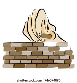 graphic design editable for your design, hand drawn human hand building a brick wall isolated on white background. Vector Illustration.
