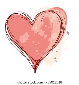 graphic design editable for your design, hand drawn heart isolated on white background. Vector Illustration.
