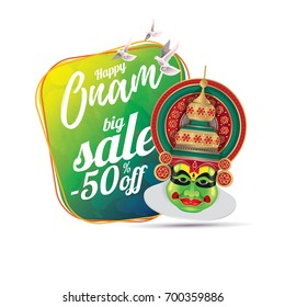 graphic design elements for Indian festival of Onam. vector illustration. Kathakali face with large jeweled crown. special offers, sales to large holiday discounts. vector festival onam celebration