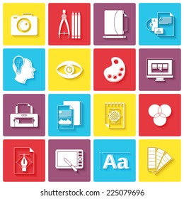 Graphic design icons set with palette sketching digital designer isolated vector illustration