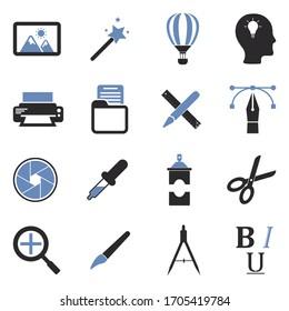 Graphic Design Icons. Two Tone Flat Design. Vector Illustration.