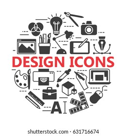 Graphic design icons, vector symbols. Printing and graphic design icons.