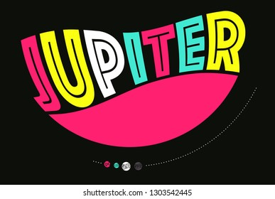 graphic design illustration of planet Jupiter and its moons in pop colors