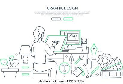 Graphic design - modern line design style web banner