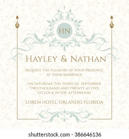 Wedding card design images stock photos vectors shutterstock wedding invitation decorative floral frame and monogram template for greeting stopboris Choice Image