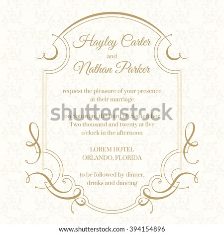 Graphic Design Page Wedding Invitation Calligraphic Stock