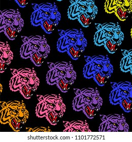 Graphic design pattern print with many angry neon heads wild tiger which are colorful like rainbow Modern vector illustration clothes t shirt sweatshirt poster sticker.