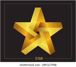Graphic design pentagram star. Vector illustration.