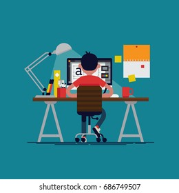 Graphic design professional in the middle of workflow, back view. Cool vector flat design illustration on creative specialist at work with man working with graphic editor on desktop computer