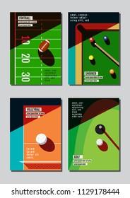 Graphic design sport concept. Sports equipment background. Vector Illustration.