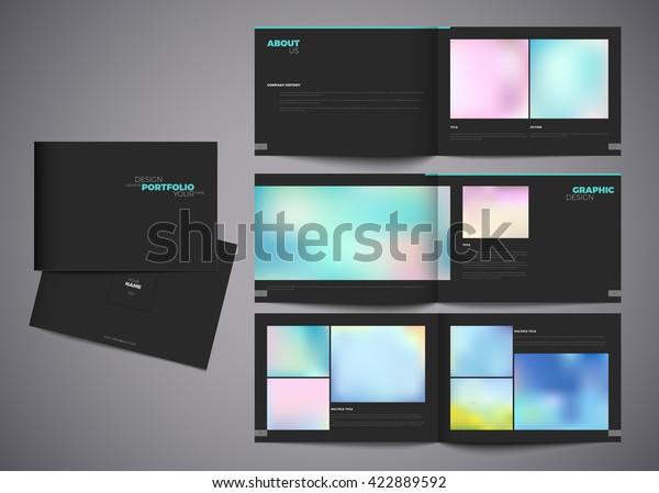 Graphic Design Studio Portfolio Template White Stock Vector