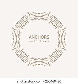 Graphic Design Template for Logo, Labels and Badges. Abstract Line Ornate Frame with Anchors and Chain. Vector illustration.