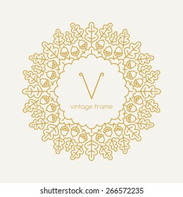 Graphic Design Templates for Logo, Labels and Badges. Abstract Line Ornate Frame with oak leaves. Vector illustration.