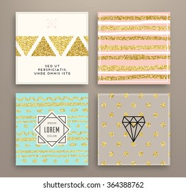 Graphic Design Templates Set for Logo, Labels and Badges. Abstract Line Patterns Backgrounds. Collection for Banners, Flyers, Placards and Posters. Retro Backgrounds. Gold Glitter Trendy Texture.