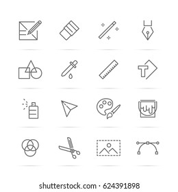 graphic design tools vector line icons, minimal pictogram design, editable stroke for any resolution