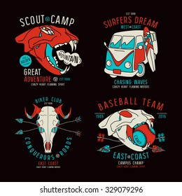 Graphic design for t-shirt with the image skulls of animals and surfer bus. Color print on black background