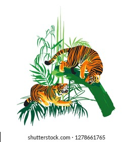 Graphic design with two aggressive fighting tigers surrounded by exotic plants. Vector illustration isolated on white background