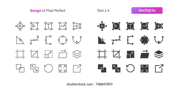 Graphic Design UI Pixel Perfect Well-crafted Vector Thin Line And Solid Icons 30 3x Grid for Web Graphics and Apps. Simple Minimal Pictogram Part 1-4