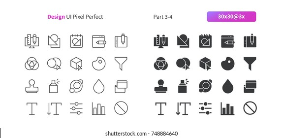 Graphic Design UI Pixel Perfect Well-crafted Vector Thin Line And Solid Icons 30 3x Grid for Web Graphics and Apps. Simple Minimal Pictogram Part 3-4