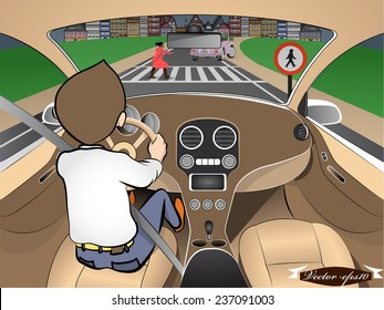graphic design vector of girl crossing the road when driving car in city, traffic accident graphic design concept