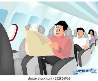 graphic design vector of man sitting in air plane seat and reading newspaper, air plane interior design concept