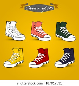 graphic design vector of set of vintage shoes