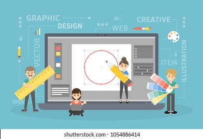 Graphic design work. People building illustrations together.