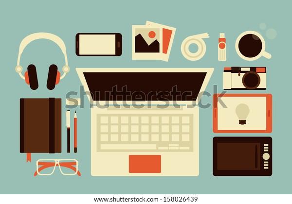 graphic designer accessories, vector