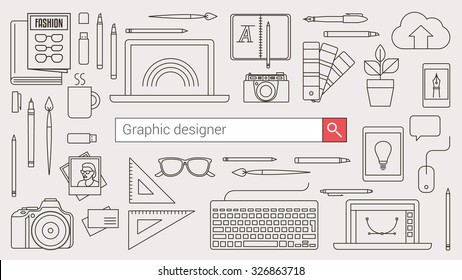 Graphic designer, illustration artist and photographer banner with search bar and thin line tools and objects on a desktop