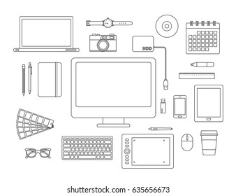 graphic designer items and tools line icon set