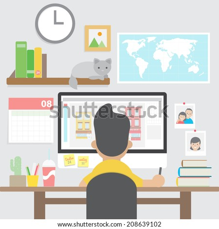 graphic design home office. graphic designer working with computer in home office workspace