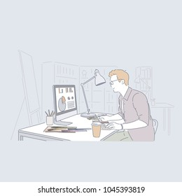 A graphic designer working on a computer. hand drawn style vector doodle design illustrations.