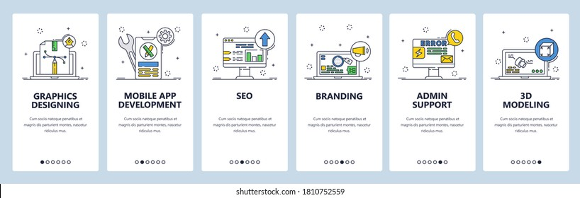 Graphic designing, seo, branding, admin support, 3d modeling, app development services. Mobile app screens. Vector banner template for website and mobile development. Web site design illustration.