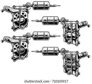 Graphic detailed black and white tattoo machine vector set. Vol. 9