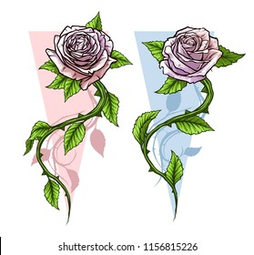 Graphic detailed cartoon pink roses flower with stem and leaves. On white background. Vector icon set. Vol. 2