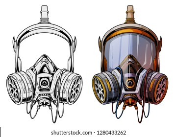 Graphic detailed chemical gas mask respirator with protective glass and filters. Isolated on white background. Vector icons set.