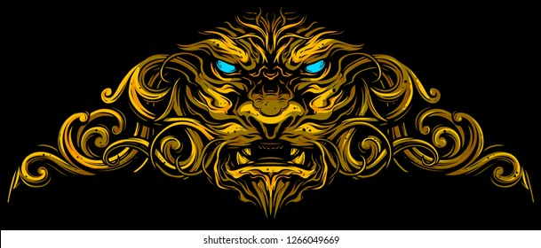 Graphic detailed decorative golden lion head with ornate. On black background. Vector icon.
