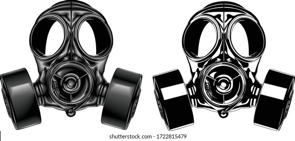 Graphic detailed gas mask with filters. Protection against toxic and chemical hazards to ensure safety. Vector