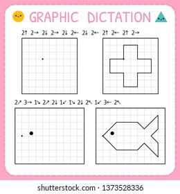 Graphic dictation. Kindergarten educational game for kids. Preschool worksheets for practicing motor skills. Working pages for children. Vector illustration