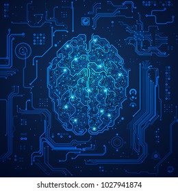 graphic of a digital brain with futuristic background; concept of artificial intelligence technology advancement;