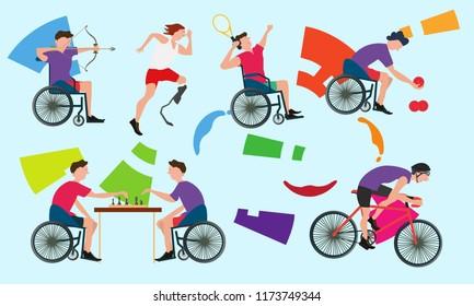 Graphic Of Disabled Athletes Sport Symbol Competition Flat Vector Illustration 2018.Logo Emblem vector For Banner Flyer Brochure. Para sport celebration game party 3rd on Asia.