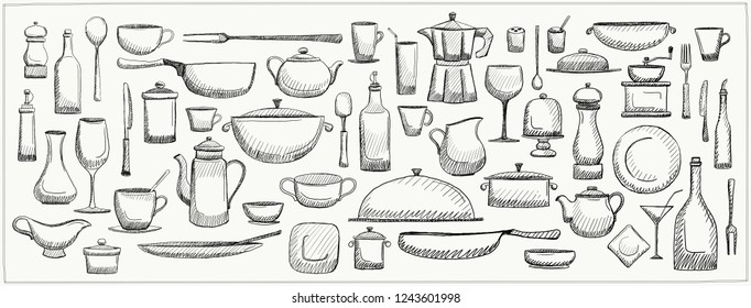 Graphic doodle set of kitchen utensils and tableware, hand drawn art line vector illustration