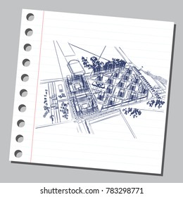 Graphic drawing with abstract city. The diary sheet with the sketch of modern general plan. Suitable for invitation, flyer, sticker, poster, banner, card, label, cover, web. Vector illustration.