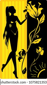 Graphic drawing of spa, solarium woman. Isolated silhouette. Vector illustration
