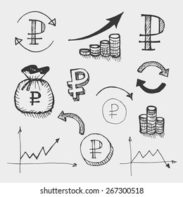 graphic drawn icons for use in presentations, websites, and pie charts on the world currency market, the depreciation of the ruble