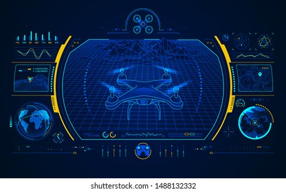 graphic of drone control technology interface