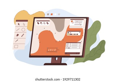 Graphic editor interface on computer screen for digital design and vector illustration. Modern software with tools isolated on white background