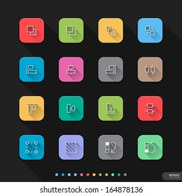 Graphic Elements flat style icons set 3 - Vector illustration