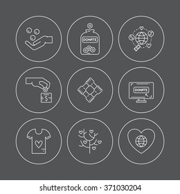 Graphic elements for nonprofit organizations and donation centres. Fundraising symbols made in vector. Crowdfunding project label. Vector line style pictograms.